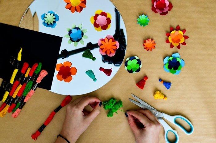 Le miroir de Frida Kahlo-Réalisation des pompons ronds