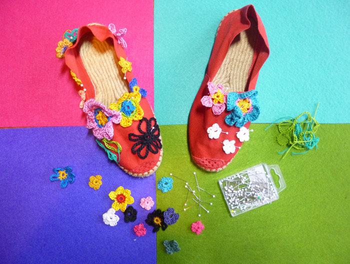 Mes espadrilles inspirées-Mise en place des fleurs