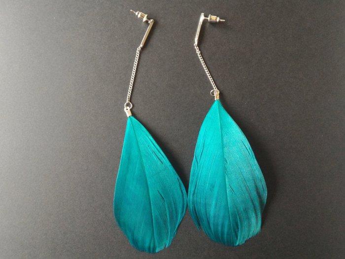 DIY Boucles d'oreilles plumes-Variante en bleu
