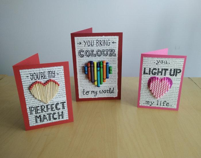 Créations pour la saint valentin avec des livres recyclés-Cartes de saint valentin avec des objets quotidiens