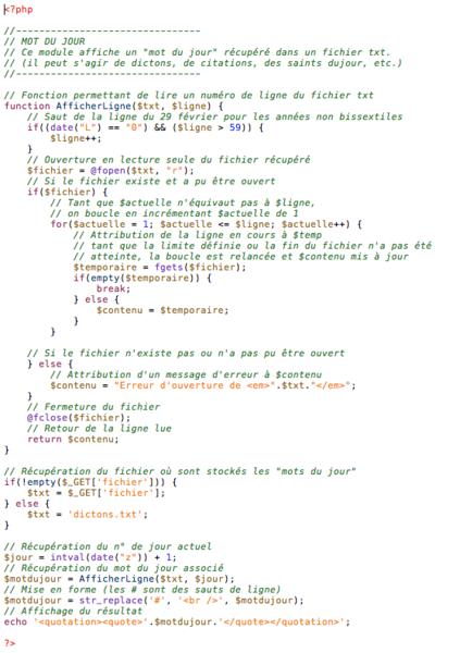 Un Tableau de Bord numérique – v2 !-Module Mot du jour