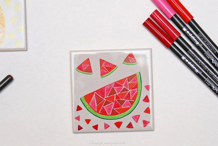 Carreaux fruités pour déco colorée-Pastèque géométrique en dégradé rouge / rose