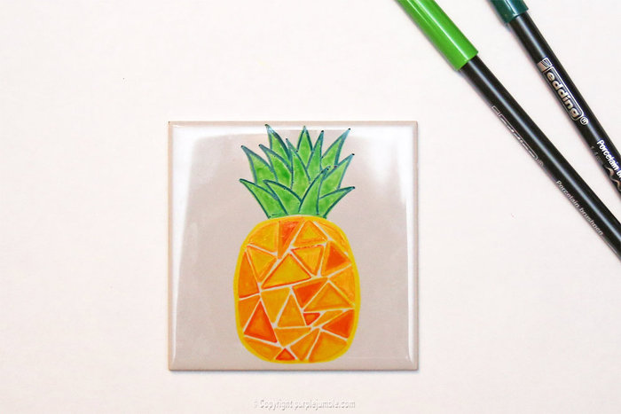 Carreaux fruités pour déco colorée-Ananas géométrique dégradé jaune / orangé
