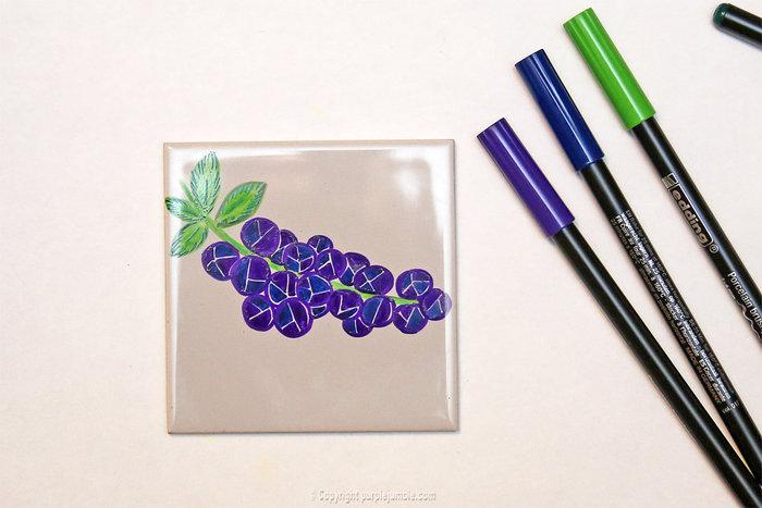 Carreaux fruités pour déco colorée-Grappe de myrtilles violet / indigo