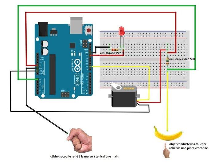 Transformer une Arduino UNO en pseudo Makey Makey -le montage (visualisation sur Fritzing)