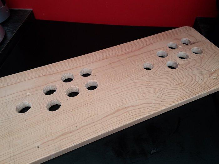 Manette double d'arcades-Perçage des trous des boutons et joysticks