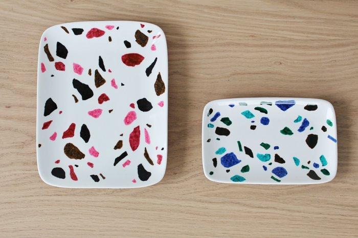 Coupelles en porcelaine motif terrazzo-Les coupelles terrazzo sont finies !