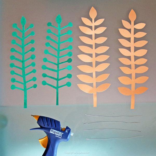 Bouquet printanier en papier -Coller des fils de fer