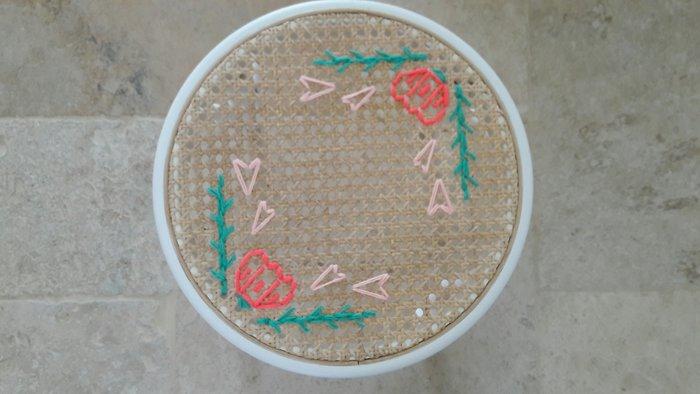 Tabouret Flower Power !-Décorer le cannelage du tabouret