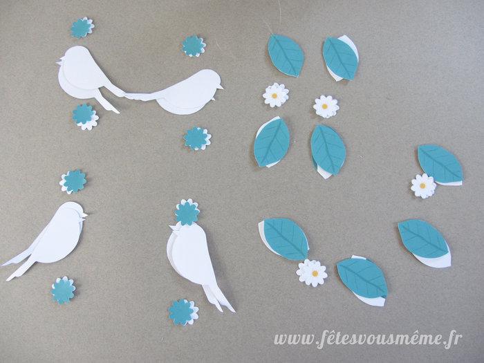 """Mobile pour enfant """"Printemps""""-Imprimer et découper les figurines (oiseaux, feuilles et fleurs)"""