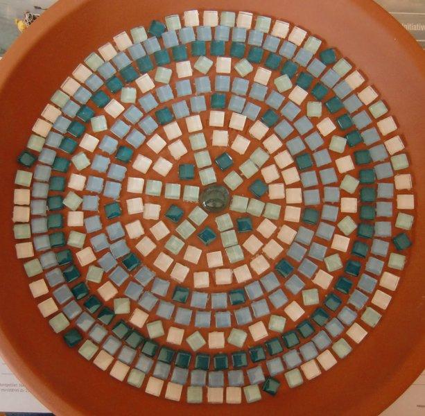 Un bain pour oiseaux en mosaïque-Préparation du motif
