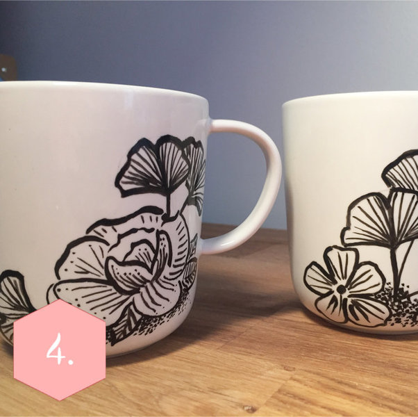 Les mugs GINGKO-Peinture sur porcelaine