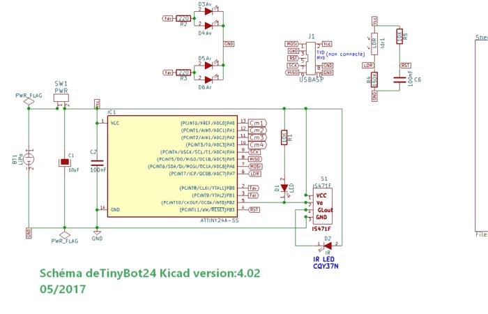 TinyBot24 mini robot autonome  4cm  25 Gr -Les Schémas et PCB