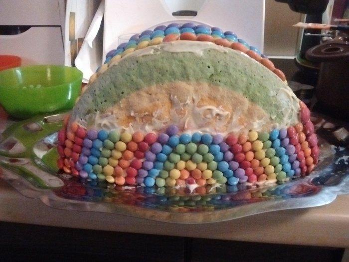 Gâteau arc en ciel-décorer le gâteau avec les smarties