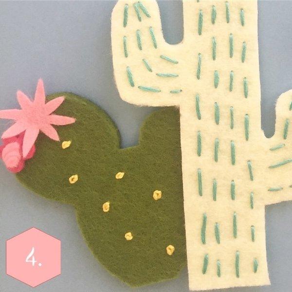 Couronne Alpaga-Broderie des détails sur les cactus