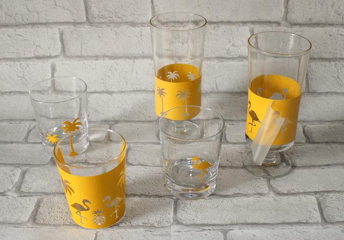 Verres tropicaux #CocoCrea10-Collage sur les verres