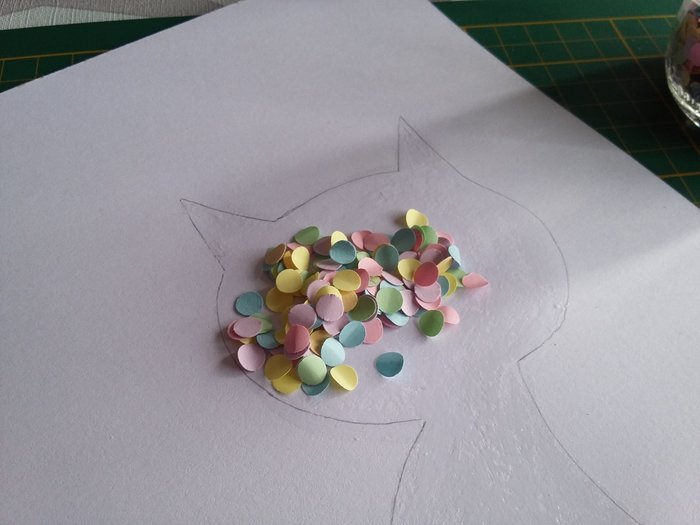 Tableau confettis-Collage confettis