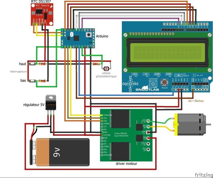 Arduino et Porte automatique de poulailler- assemblage boitier de commandes / branchements