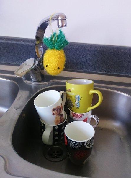 DIY : une éponge ANANAS... kawaii et tropical !  -Lavez la vaisselle avec votre éponge...