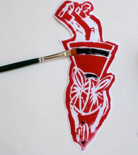 DIY : Linogravure autour du rugby !-Détails du personnage