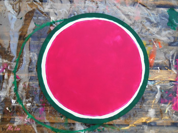 Plateau Pastèque #CocoCrea15-Peinture rose