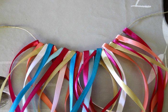 Guirlande fleurs, fleuillages et rubans #CocoCrea16 -Assemblage des rubans