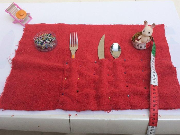Porte-couverts/set de table avec pochette amovible-Etape 4