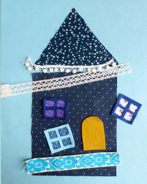 Nuit d'été ~ une petite maison en tissu-Découpe des éléments