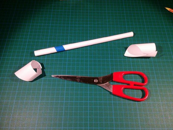 Trompette en papier-Couper les bouts