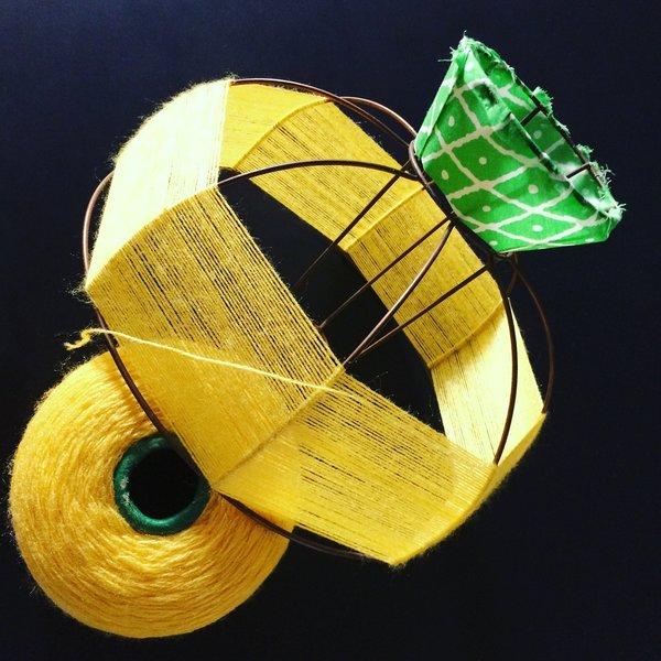 Abat-jour Ananananas-Tissage de la partie basse - Coeur de l'ananas