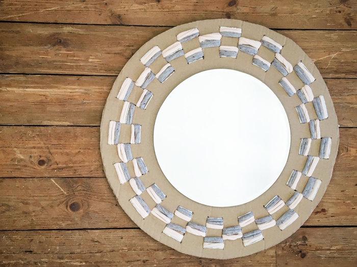 MES MIROIRS ESPRIT TISSAGE   -Miroir avec son cadre en carton