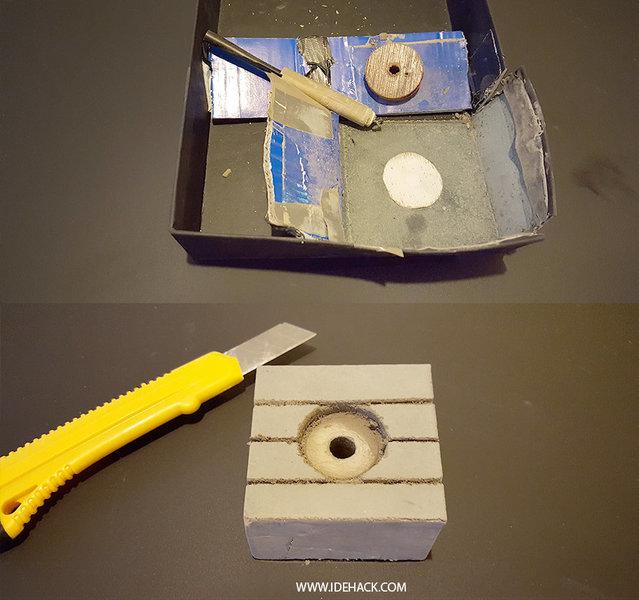 UNE VEILLEUSE EN BETON ET PLASTIQUE DINGUE-On coule le beton