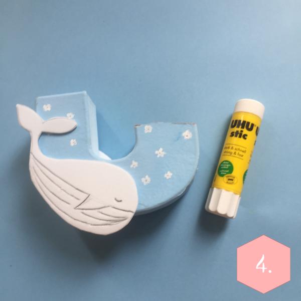 Le coussin imprimé Baleine-Etape 1 : Création du tampon