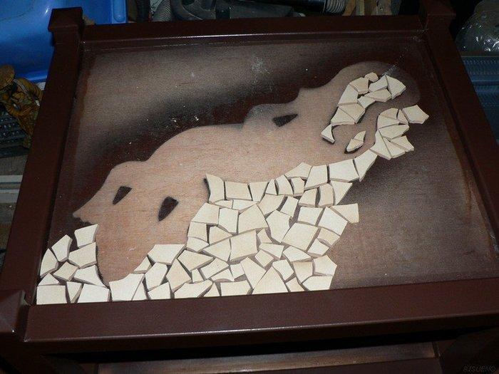 """Revêtement de table style """"mosaïque""""-Choix de la taille des morceaux et de la teinte du joint"""