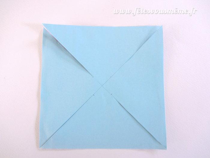 Moulins à vent de papier-Tracez et découpez les diagonales