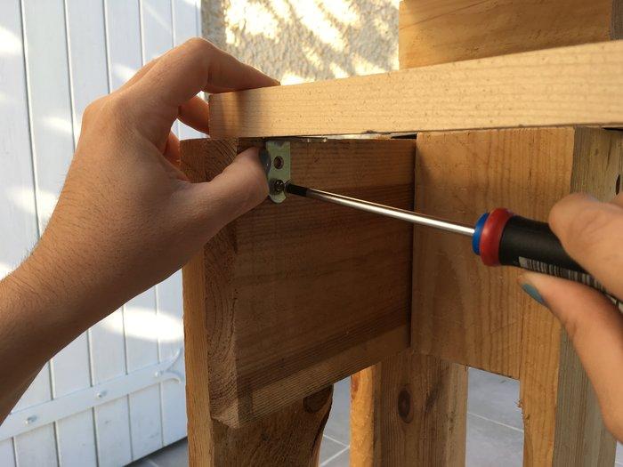 Une console en palette-Préparation support tiroirs