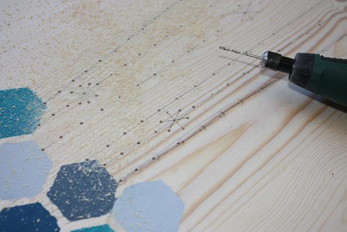 Ma table basse brodée-Tracé et perçage du motif à broder