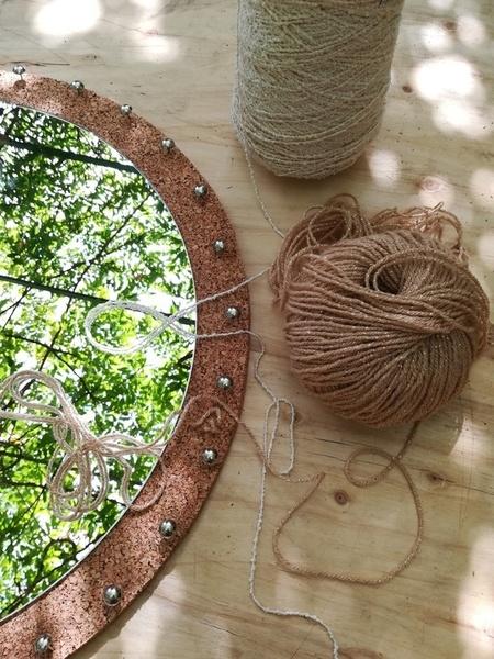 Miroir capteur de rêves lumineux-Positionnement des clous de tapissier