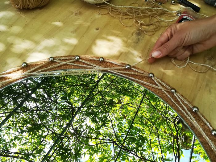 Miroir capteur de rêves lumineux-Tissage en fils tendus
