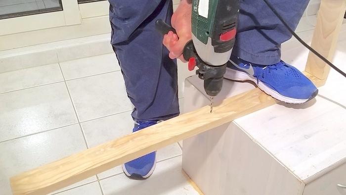Fabriquer une lampe design-Assembler la diagonale