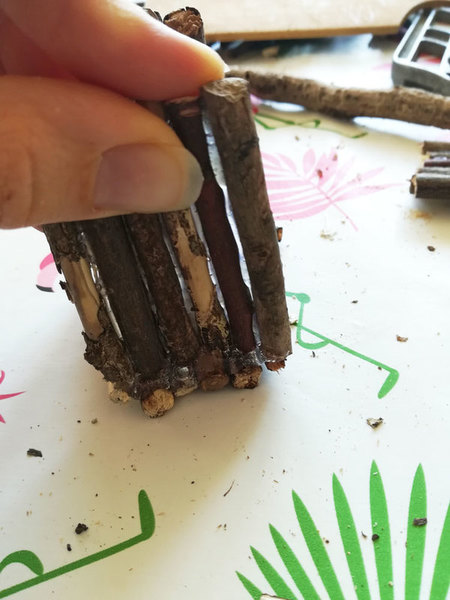 Boite à bijoux nature -L'assemblage de la structure