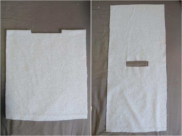 Un poncho de bain pour bébé-Couper le tissu