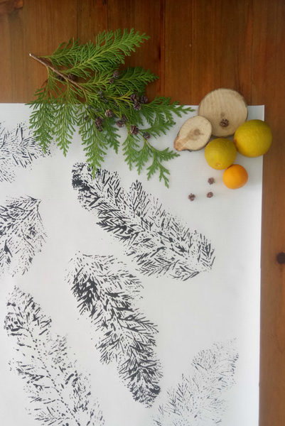 DIY : Emballage cadeau nature-Réalisation du papier cadeau