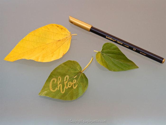 Un paquet cadeau recup et nature-Préparer une étiquette avec une feuille d'arbre