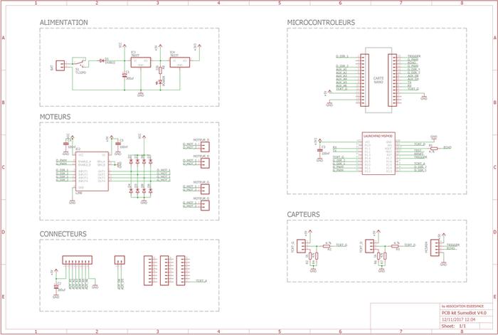 Fabriquer un robot SumoBot v4.0 (obsolète)-Dessin du schéma électronique sur EAGLE