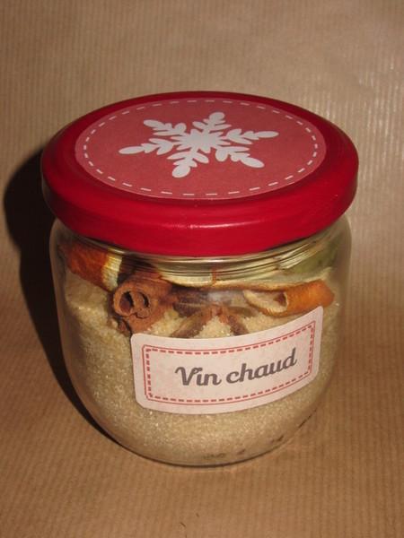 Bocal à épices SOS Vin Chaud-Collage des étiquettes