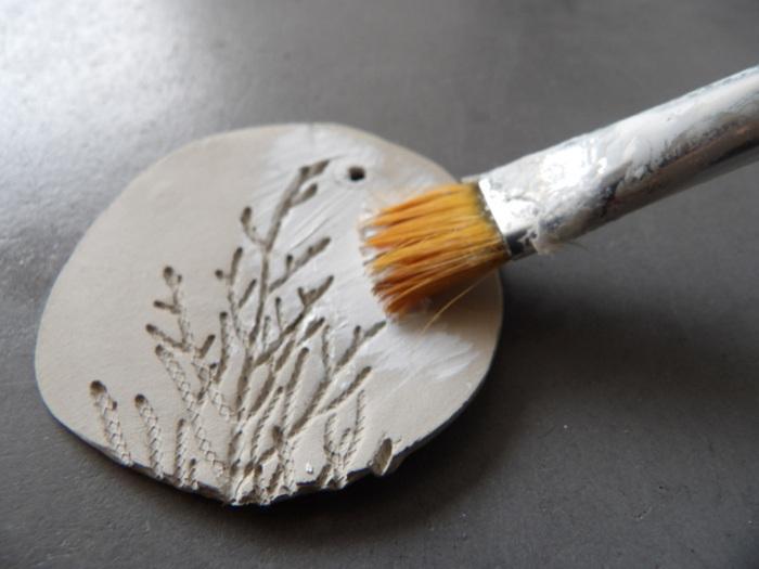 """DIY Décorations de sapin """"Noël Blanc""""-Pampilles médaillons d'argile"""
