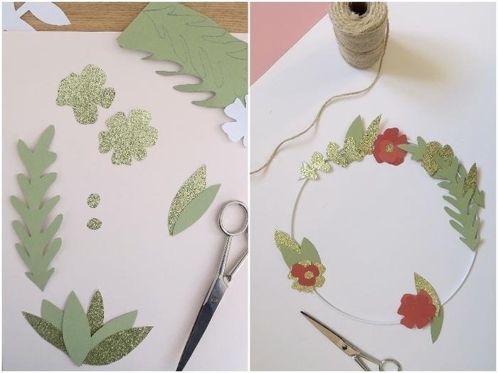 Couronne de Noël en papier-Dessiner et couper les feuilles et fleurs