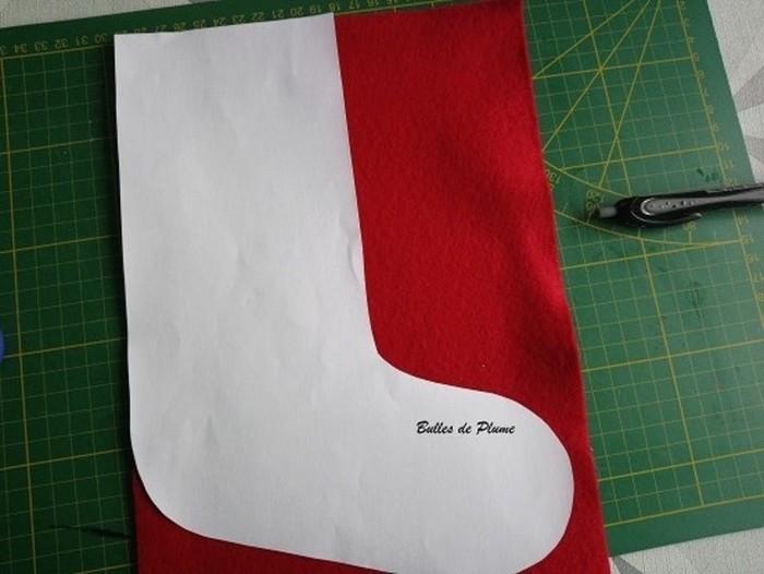 DIY : chaussette de Noël en feutrine-Réalisation de la chaussette