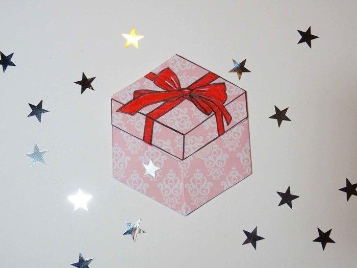 "Carte ""Paquet cadeau""-Avec ruban..."